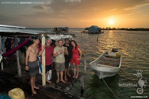 Happy divers after diving with crocodiles at Banco Chinchorro