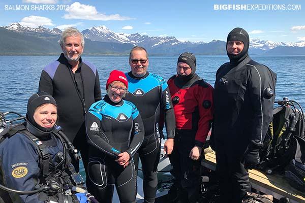 Our group of salmon shark divers in Port Fidalgo, Alaska