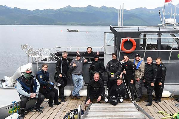 Salmon shark diving group