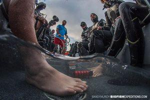 Divers approaching Roca Partida.
