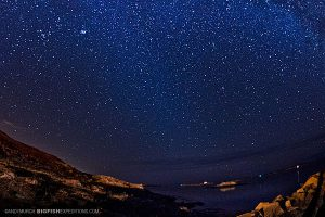 Starry night near Kristiansund in Norway